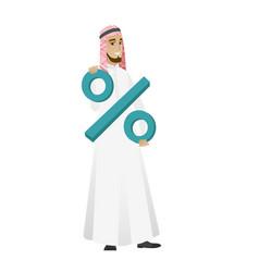 Smiling businessman holding percent sign vector