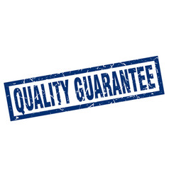 Square grunge blue quality guarantee stamp vector