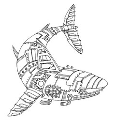 Steam punk style shark coloring book vector