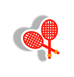 Stylish icon in paper sticker style tennis rocket vector