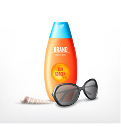 Sun protection cosmetic product design vector