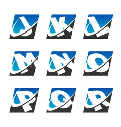 Swoosh sport alphabet logo icons set 2 vector