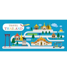 Travel thailand flat design vector