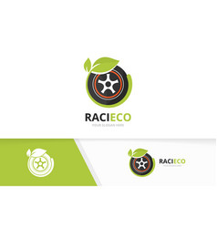 Wheel and leaf logo combination tire and vector