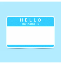Blue tag sticker hello my name is vector