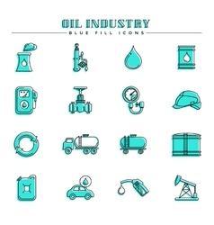 Oil industry and energy blue fill icons set vector