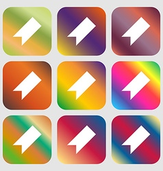 Bookmark icon nine buttons with bright gradients vector