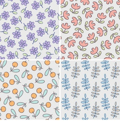 Set of seamless patterns with cute flowers and vector