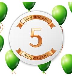 Golden number five years anniversary celebration vector
