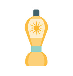 After sun lotion cosmetic product in yellow bottle vector