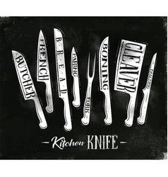 Kitchen meat cutting knifes poster vector
