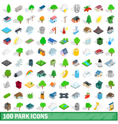 100 park icons set isometric 3d style vector image
