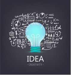 Idea concept bulb with hand drawn vector