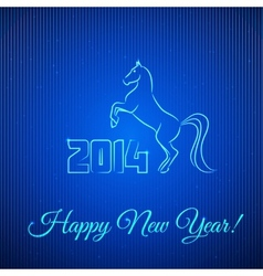 Happy new year 2014 illuminated neon horse vector