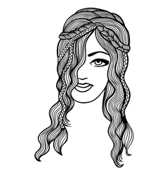 Black and white girl sketch vector