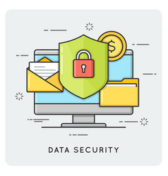 data security flat thin line concept vector image