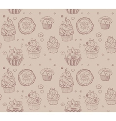 Tasty hand drawing seamless cupcake pattern vector