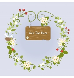 Blossom frame fairy message text love bird vector