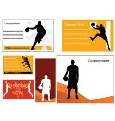 basketball business cards vector image