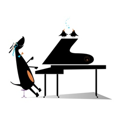 Dog a pianist vector