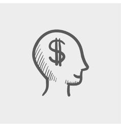 Head with dollar symbol sketch icon vector image