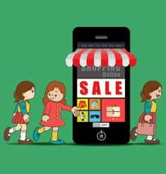 The girls doing online shopping vector image