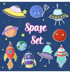 Space set cartoon ufo planets rockets vector