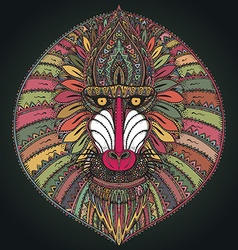 Hand drawn ornate baboon face vector