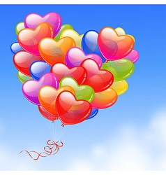 Colorful heart shaped balloons vector