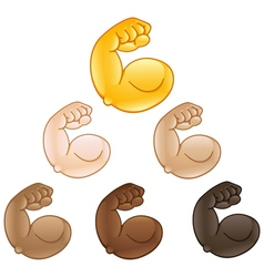 Flexed biceps hand emoji vector