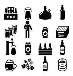 Beer brewery pub icons set vector