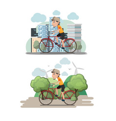 bicycle man ride city eco vector image