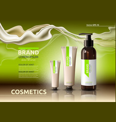 body care cosmetic set serum and cream ads vector image vector image
