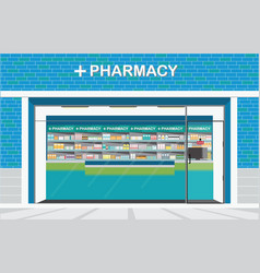 building exterior front view and interior of drug vector image vector image