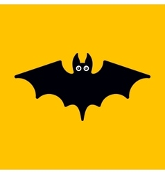 Cartoon bat on orange background vector