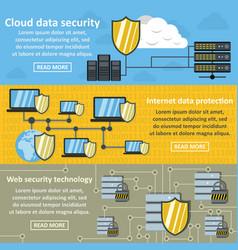 cloud data banner horizonatal set flat style vector image