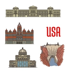 Famous popular tourist attractions of usa vector