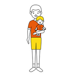 Father with baby characters vector