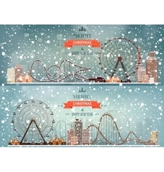 Ferris wheel Winter carnival vector image