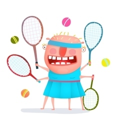 Funny freaky tennis player monster vector image