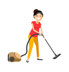 Girl working with vacuum cleaner vector