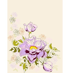 Hand drawn decorative background with peony vector image vector image
