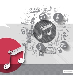 Hand drawn music note icons with icons background vector image