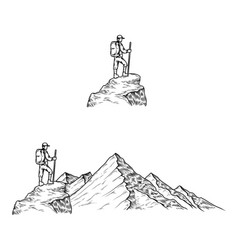 Hand drawn the mountains with vector