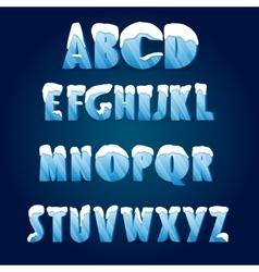 Ice alphabetwith snow caps vector