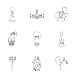 Light source set icons in outline style Big vector image