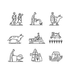 Line icons farming and agriculture agronomy vector
