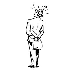 Misunderstanding questions businessman standing vector image vector image
