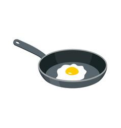 Omelette in frying pan fried egg for breakfast vector