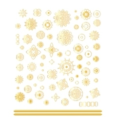 Oriental gold pattern set vector image
